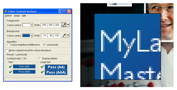An application called Contrast Analyser is used to select a white pixel from white text. The tool indicates that the contrast between the white text and a blue background passes the standards at 7.8:1.